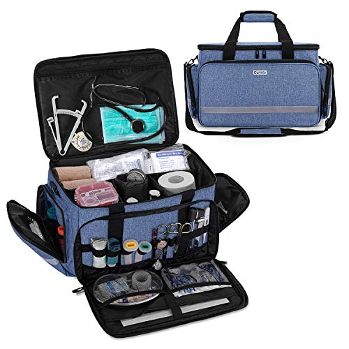 CURMIO Borsa per infermiere, borsa medica per borsa clinica con divisori interni e fondo antiscivolo per visite domiciliari, assistenza sanitaria(Design brevettato),Blu