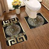 Art Fan-Design Soft Comfort Flannel Bathroom Mats 3d Wallpaper With Greek Key Non Slip Bath Mat Washable Entry Rugs 2pcs/Set Carpet Rugs