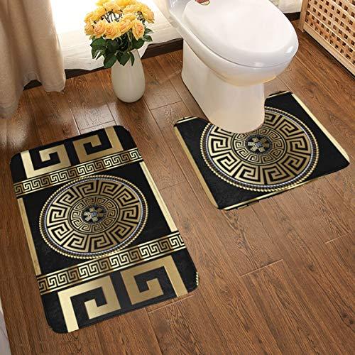 Art Fan-Design Lot de 2 tapis de salle de bain doux et confortables en flanelle, papier peint 3D avec clé grecque, tapis de bain antidérapant, lavable