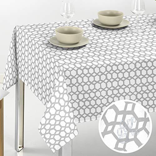 Viste tu hogar Mantel PVC para Mesa, 140x140 CM, Impermeable y Resistente, Ideal para la Decoración de Mesa y Fechas Especiales, Apto para Exteriores, Diseño Geométrico