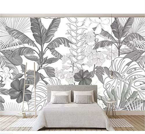 Finloveg Banane De La Forêt Tropicale Tropicale Noir Et Blanc Feuilles Jardin Papier Peint Chambre Salon Salon Tv Fond Mur 3D Papier Peint-350X250Cm