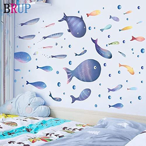 Dibujos animados Hagfish pegatinas de pared estilo de pintura para sala de estar habitación de niños calcomanía de pared bebé guardería murales decoración de pared póster baño multicolor