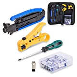 KOTTO Coax Cable Crimper Kit, Compression Tool Coax Cable Crimper Kit, Adjustable RG6 RG59 RG11 75-5 75-7 Coaxial Cable Stripper with 20 PCS F Compression Connectors