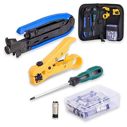 Koaxialkabel-Crimper Set, Kompressions-Werkzeug Koax-Kabel Crimper Kit, verstellbar RG6 RG59 RG11 75-5 75-7 Koaxialkabel-Abisolierzange mit 20 F-Kompressionssteckern