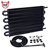 EVIL ENERGY 8 Pass Tube and Fin Transmission Cooler Universal 5/16' Oil Cooler Kit Aluminium Black