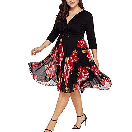 VEMOW Plus Size Elegante Damen Frauen Casual Kurzarm Kalt Schulter Boho Blumendruck Casual Täglichen Party Strand Langes Kleid Schulterfrei Strandkleid(X2-Schwarz, 54 DE / 5XL CN)
