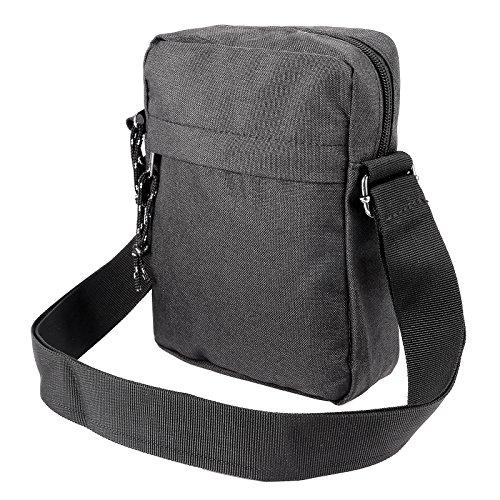 Anladia Herren Junge Umhängetasche kleine Schultertasche Messenger Tasche Kuriertasche Uni Reise schwarz