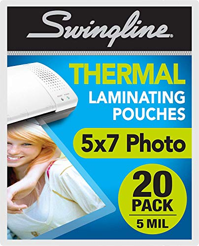 Swingline Laminating Sheets, Thermal Laminating Pouches 5 x 7 Photo Size, 5mil, 20 Pack (3202063)