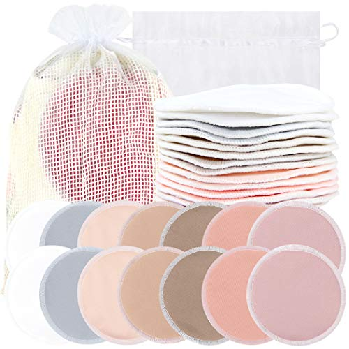 Bamboo Nursing Pads (14 Pack) + Laundry Bag & Travel Storage Bag, 4.7 inch Option - Washable & Reusable Nursing Pads (Mild, Large)