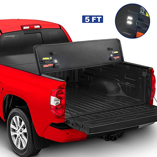 MOSTPLUS Tri-Fold Hard Truck Bed Tonneau Cover On Top Compatible for 2005-2018 Nissan Frontier 3 Fold Solid 5 FT