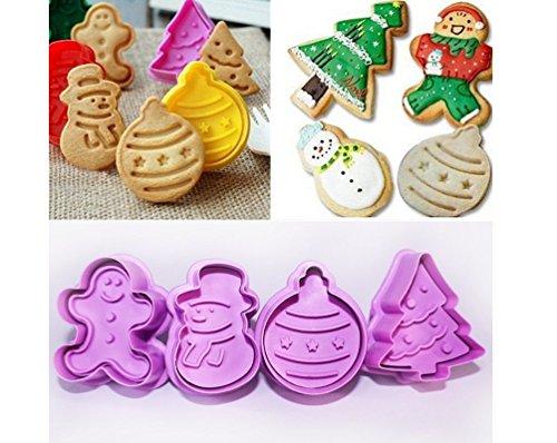 ILOVEDIY 4Pcs Moule à gâteau de Noël Coupe-biscuits Moule de biscuit Emporte Piece Patisserie Décoration de gâteaux