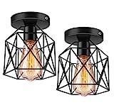 Licperron Semi-Flush Mount Ceiling Light E26 E27 Retro Black Industrial Ceiling Light...