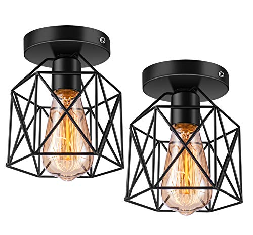 Licperron Semi-Flush Mount Ceiling Light E26 E27 Retro Black Industrial Ceiling Light Fixture for Porch Hallway Kitchen Farmhouse Lighting 2 Pack