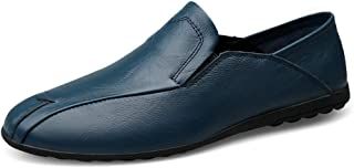XinQuan Wang Man Business Driving Loafer Casual OX Leather Soft Sole Solid Color Big Size Slip On Leisure Boat Moccasins (Color : Blue, Size : 9.5 UK)