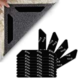 Lifelf 12 PCS Rug Grippers for Hard Floors, Carpet Corner Rug Grippers, Anti Curling Non-slip Rug Stopper, Reusuable Rug Sticker with Strong Sticky for Office Kitchen Bathroom (Black)