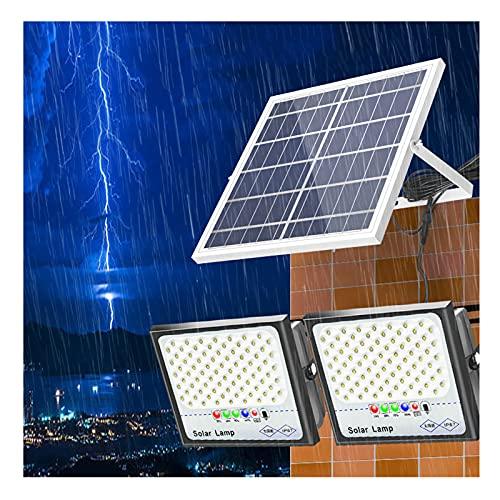 XEX Proyector Solar Sensor Luz Exteriores 98/164/220/284 LED, LED Luz De Inundación Solares Exterior con Batería Gran Capacidad, Foco Jardín Solar Impermeable 6500K con Cables(Size:2 * 1000W)