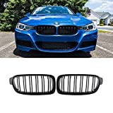 LDG Black F30 Kidney Grill Grille for BMW 3 Series 2012-2018 F30 F31 320i 328i 330i 335i 340i, ABS Double Slats (2-pc set)