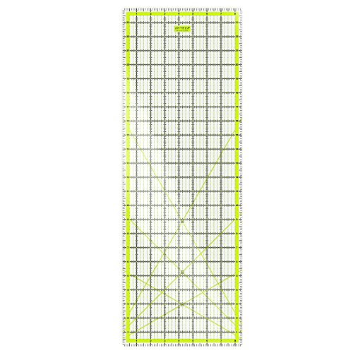 """ARTEZA Quilting Ruler, Laser Cut Acrylic Quilters' Ruler with Patented Double Colored Grid Lines for Easy Precision Cutting, 8.5"""" Wide x 24"""" Long for Quilting, Sewing & Crafts, Black & Lime Green"""