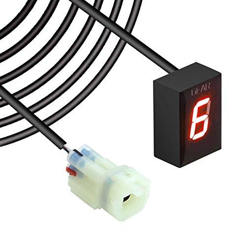 Indicateur de Vitesse étanche pour Moto Affichage LED Plug & Play pour Kawasaki (Câble Sortie Arrière LED Rouge)