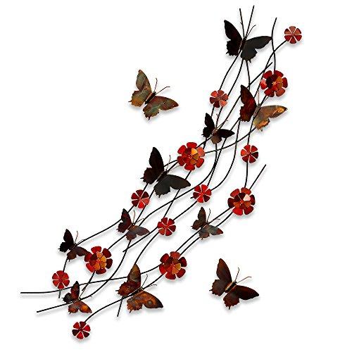 Flores y mariposas Cuadro en metal escultura para la pared realiazada con tecnicas...