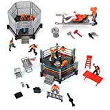NeatoTek 46 Pieces Wrestling Toys for Kids - Wrestler Warriors Toys with Ring & Realistic Accessories - Fun Miniature Fighting Action Figures 24 Little Powerful Wrestlers and 22 Funny Accessories