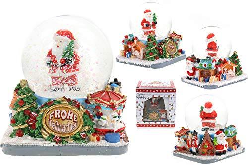 Creation Gross Schneekugel Weihnachtsmann, eckiger Sockel mit Weihnachtsmarkt, inklusive Geschenkbox9*9cm Ø 65mm (Frohe Weihnachten)