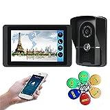 Wifi Video Doorbell, 7 Inch Video Door Phone Security Surveillance Kit, Intercom, Night Vision Camera, Monitor ID Card APP Unlock