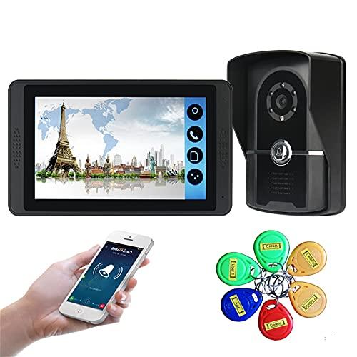 Timbre con video wifi, kit de vigilancia de seguridad para teléfono con videoportero de 7 pulgadas, intercomunicador, cámara de visión nocturna, desbloqueo de la ID Card APP monitor