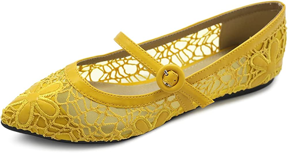 Ollio Women's Shoes Mary Jane Breathable Comfort Ballet Fla Lace Limited outlet time cheap sale