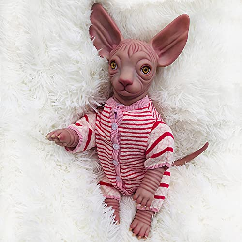 SXZHSM 18 inch simulation Cat, Realistic Reborn Baby Dolls, reborn kits doll with Clothes Gift Newborn Dolls Gift Set, Handmade Reborn Dolls That Look Real Reborn Baby Doll