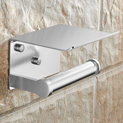 YELLAYBY Rack de Pared Sostenedor de Papel higiénico y Toallas de teléfono Estante Decorativo Portarrollos montado en la Pared (Color : Silver)