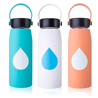 MIUCOLOR Glass Water Bottle - Silicone Protecti...