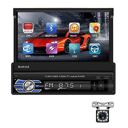 Android 1 Din Autoradio GPS CAMECHO 7  Flip fuori touch screen capacitivo Bluetooth FM Radio WiFi Navigation Mirror Link per telefono Android iOS+telecamera per retrovisione 2+16G