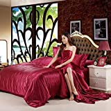 GUANLIDE Satin Silk Bedding Set, Home Textile King Size Bed Set, Double Single Bed...