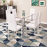 Ansley&HosHo 7 Pieces Dining Table Set Modern Glass Dining Table with 6 Faux Leather High Back Chairs White Dinner Set for Dining Room Kitchen Restaurant