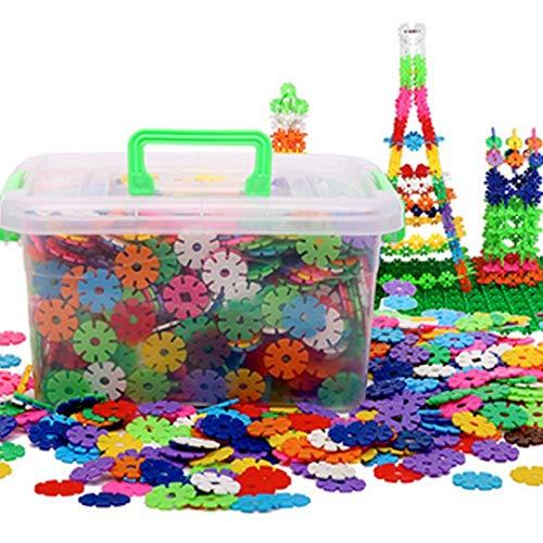 Kinder-Bausteine, 500 Stück, Kunststoff, Schneeflocken, Konstruktionsspielzeug, Kunststoffscheibe, Lernspielzeug mit Aufbewahrungsbox