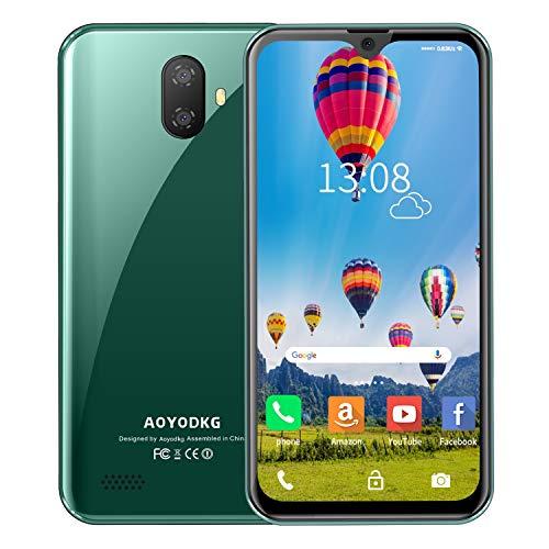 """Moviles Libres 4G Android 9.0 (Certificación Google GMS) 3GB RAM+32GB ROM/128GB Smartphone Libre 5.5"""" HD Pantalla, Tres tarjetas: 2x MicroSIM + TF Face ID WiFi GPS Móviles y Smartphones Libres (Verde)"""