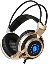 SADES PC Gaming Headset, 3.5mm Wired Bass Stereo Noise Isolation Gaming Headphones with Mic LED for Laptop Computer - Volume Control (Gold )