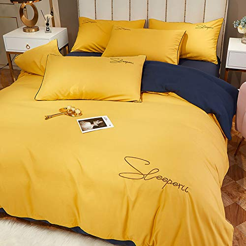 WYSTLDR High-end brushed and washed quilt cover set, solid color bed linen, bedding, yellow + navy blue 2-meter four-piece set