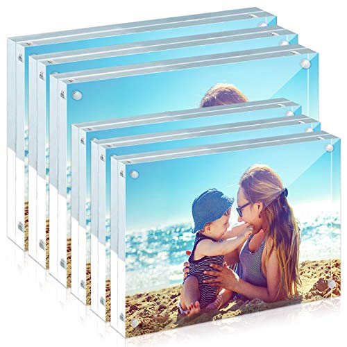 HELPLEX 6 Pack acrylic frame, 5x7&4x6 two size combinations, 20% thicker,20-24mm thick frameless,clear frame double-sided , magnetic frame, free standing desktop display stand acrylic frame (6 Pack)