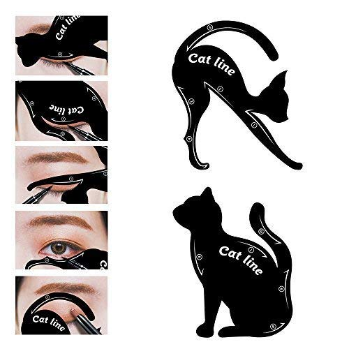 LKE 2 in 1 Cat Eyeliner Stencil, silicone Smoky Eyeshadow Applicators Template Plate,Professional Multifunction Black Cat Shape Eye liner & Eye Shadow Guide Template (1 PACK)