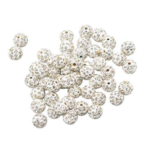 Magideal 50 pièces Strass en argile Boule Spacer Perles pour fabrication de bijoux Apprêt DIY, blanc, 10mm