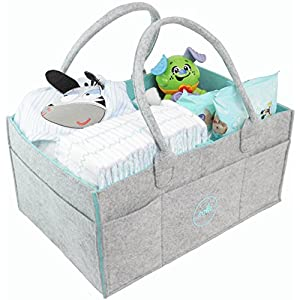 Ooki Baby Large Diaper Caddy – Minimalist Nursery Tote Bag | Foldable Changing Table Storage Organizer for Multiple Baby Supplies | Portable Car Seat Travel Basket with Removable Organizer Inserts