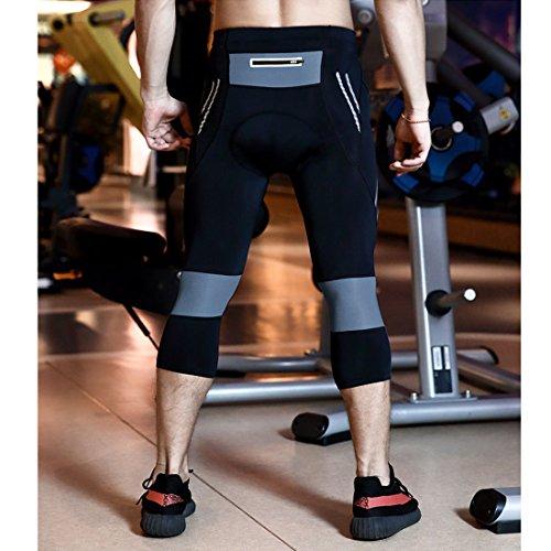 GWELL Herren 3/4 Lang Radhose mit Sitzpolster Gepolstert Radlerhose Professionelle Sporthose grau L - 4