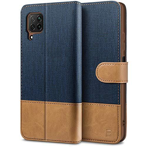 BEZ Handyhülle für Huawei P40 Lite Hülle, Tasche Kompatibel für Huawei P40 Lite, Schutzhüllen aus Klappetui mit Kreditkartenhaltern, Ständer, Magnetverschluss, Blaue Marine