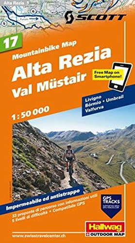 Alta Rezia, Livigno, Bormio, Val Müstair, 1:50 000: Nr. 17, Mountain-Bike Karte/VTT (Hallwag Mountainbike-Karten)