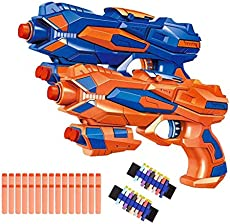 Fstop Labs 2 Pack Foam Hand Gun Toy Blaster Gun Compatible with Nerf Guns with 2 Foam Dart Wrist Band and 30 PCS Refill Soft Foam EVA Darts