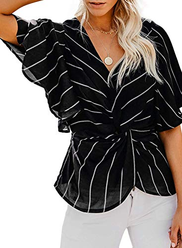 Summer Blouses for Women Short Sleeve, Misyula Girls Sexy Durable V-Neck Blouse Loose Knot Twist Ruffles Tops for Junior Unique Business Holiday Wear Empire Waist Elegant Tees with Leggings Black L