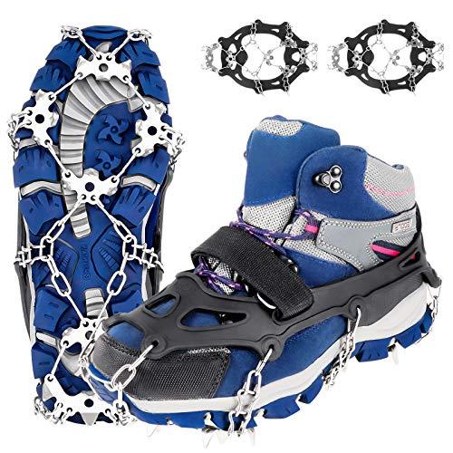 SOSPIRO Ice Klampen Steigeisen mit 19 Edelstahl Zähne Spikes, Schuhkrallen Schuhspikes Für Bergschuhe, Schuhe, Bodenhaftung Anti Rutsch zum Klettern, Bergsteigen und Wandern, EIS und Schnee Sport(XL)