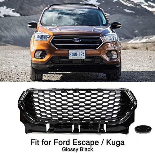 QTCD Parrilla De Paragolpes Delantero Negro Brillante para Ford Escape Kuga 2017 2018 2019 Honeycomb Mesh Grill Accesorios Auto Grill Accesorios Modificados